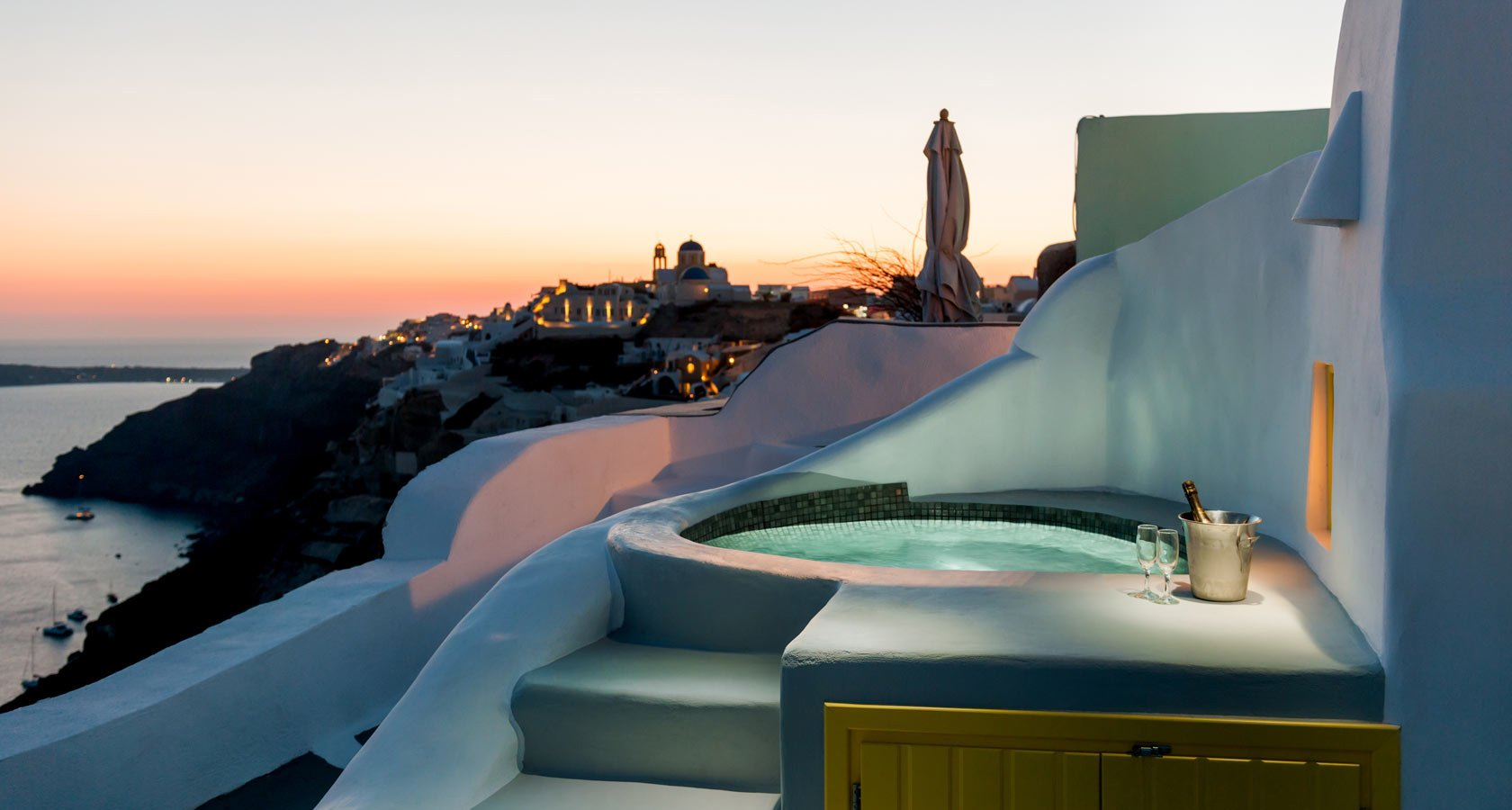Anemomilos Villas Santorini exterior Jacuzzi with magnificent sea view