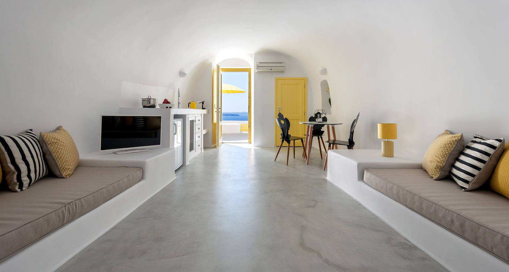 Interior of Villa Avra, an elegant cave house in Oia Santorini